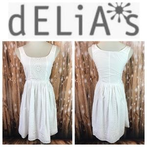 🆕 Delia's White Eyelet Sleeveless Cotton Dress
